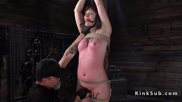 Gagged and hogtied slave ass spanked