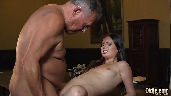 Young princess fucks the old butler in the hall room