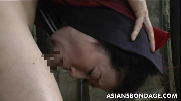 Cute Japanese schoolgirl gets bound, suspended and mouth fucked hard