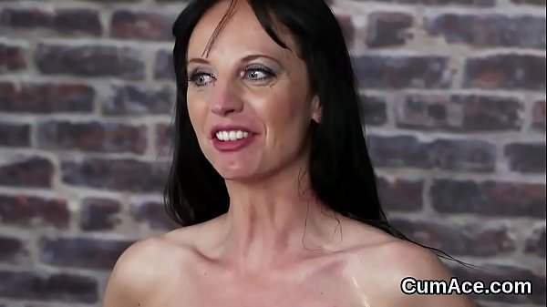 Naughty sex kitten gets cum shot on her face swallowing all the cream