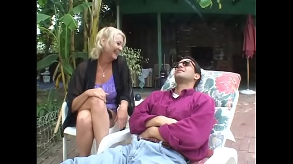 Well-padded mature blonde lady Anastasia Sands makes clear if handsome fellow having rest in chaise-longue is able to spare a while to help her bail out of the difficulties Thumb