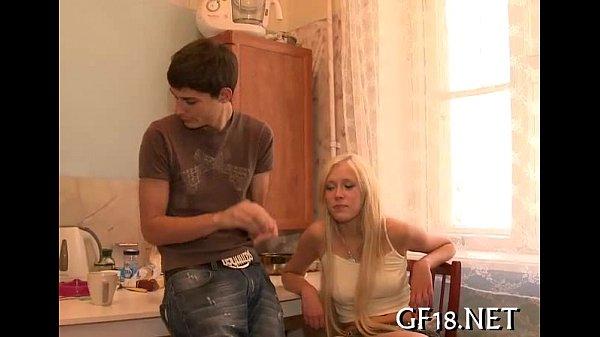 Sweet-looking legal age teenager gal takes hard jock