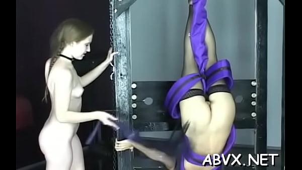 Stripped amateur severe pussy bondage