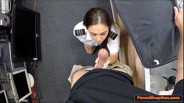 Latin stewardess sucks cock in public for extra money