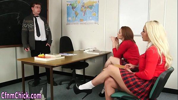 Cfnm schoolgirls stroking Thumb