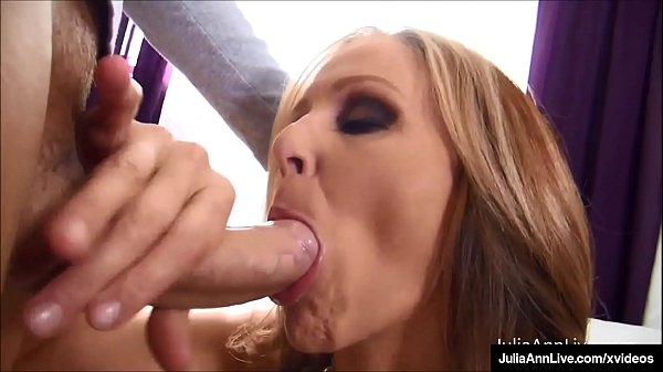 Big Boobed Cougar Julia Ann Blows Strokes & Milks A Throbbing Cock!
