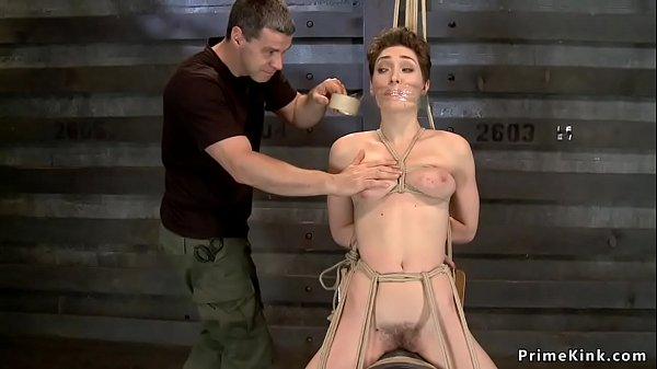 Tied hairy slave riding Sybian