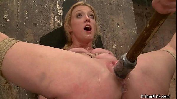 Milf gets vibrated in back bend hogtie