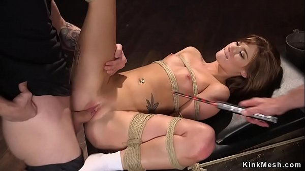 Redhead slut made to fuck in bdsm threesome
