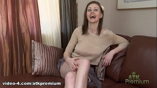 Young girl in short skirt no panties on the coach Thumb