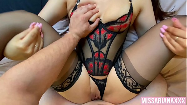 Sexy Brunette Strokes My Cock In Her Lingerie - CREAMPIE