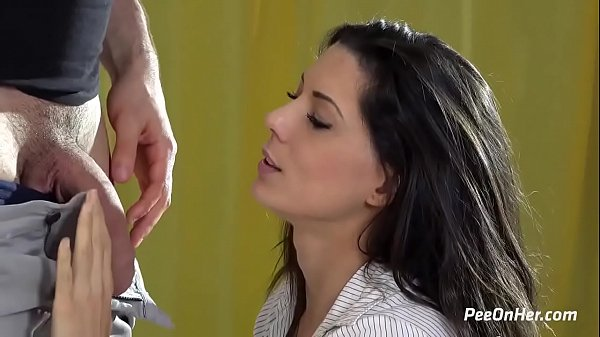 Piss drinking brunette SWALLOWS pee and cum!
