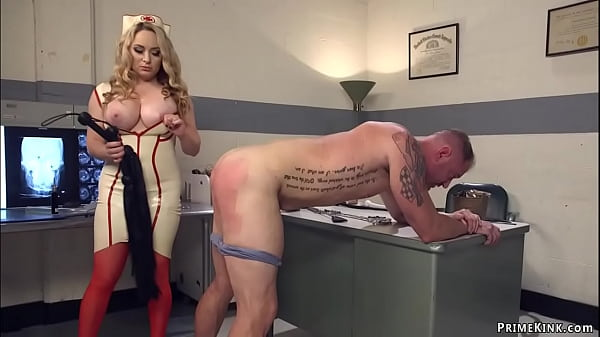Busty MILF nurse pegging male patient Thumb