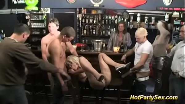 busty blonde banged at the cocktail bar