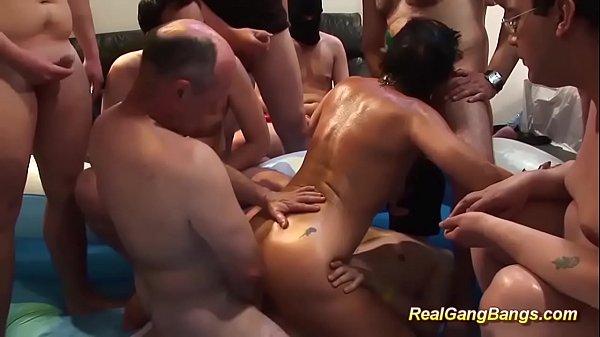 chubby grandmas first oiled gangbang orgy