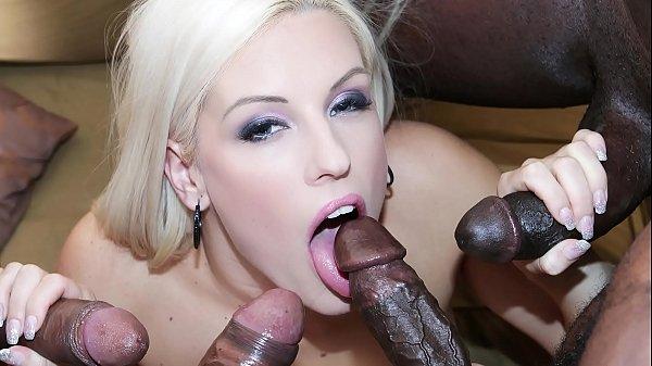Horny blonde interracial anal gandbang then swallows cum like a slut Thumb