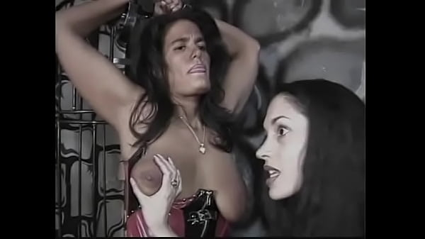 Desiree Lalique in all black leather ties two girls up and plays with their nipples, pulling on them and spanking them