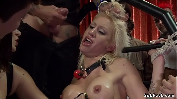 Busty blonde gangbang fucked at public party Thumb