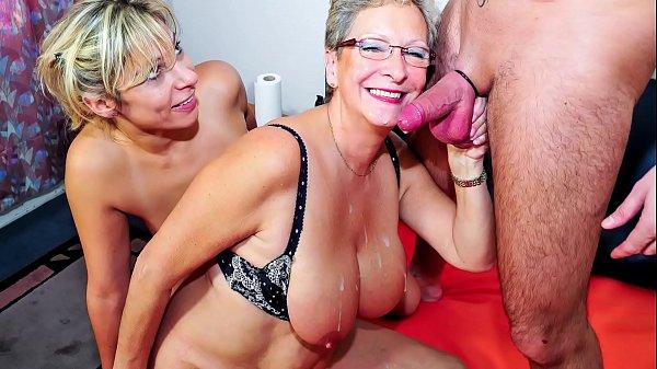 XXX OMAS - German mature blondes sharing stiff cock