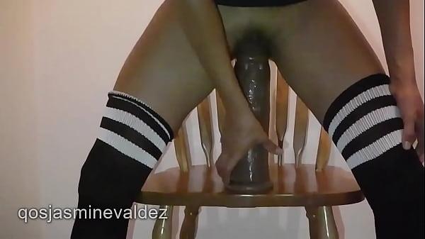 Sexy latina masturbating with huge dildo and fisting pussy