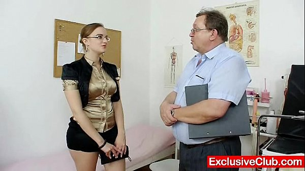 Chubby amateur girl with glasses fingered by gyno MD Thumb