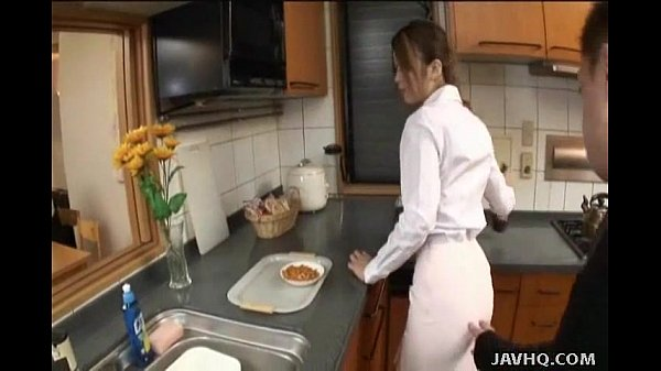 Japanese teen gets fucked in the kitchen Uncensored