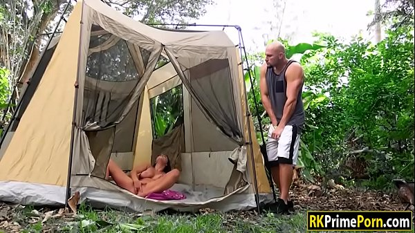 Ashley Adams gets banged in camping tent