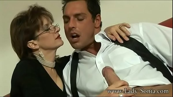 British Milf Lady Sonia sucks a huge cock and gets covered in cum Thumb