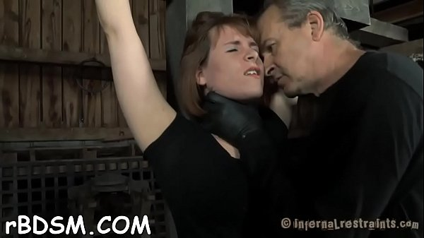 Fuck machine is pounding on bounded slave viciously Thumb
