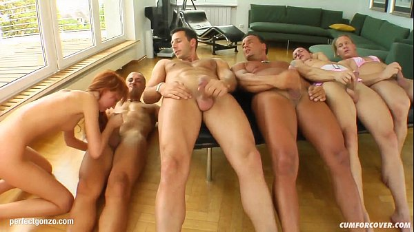 Baby Silver in group blowbang facial cumshot scene on Cum For Cover