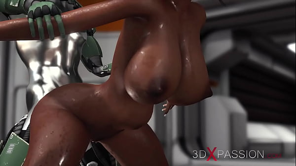 Sex on the exoplanet! Sci-fi android fucks hard a hot black girl in the base camp