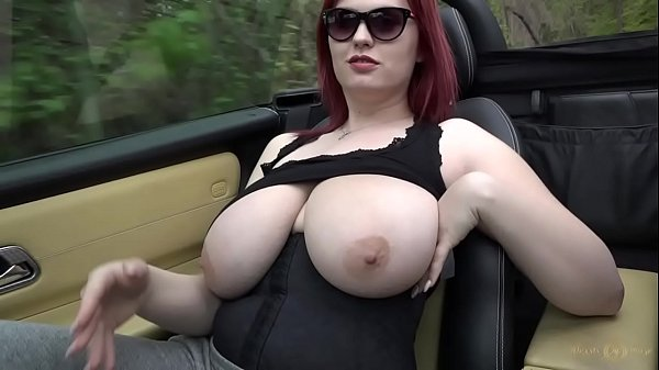 Busty Legend Alexsis Faye drives topless in her...