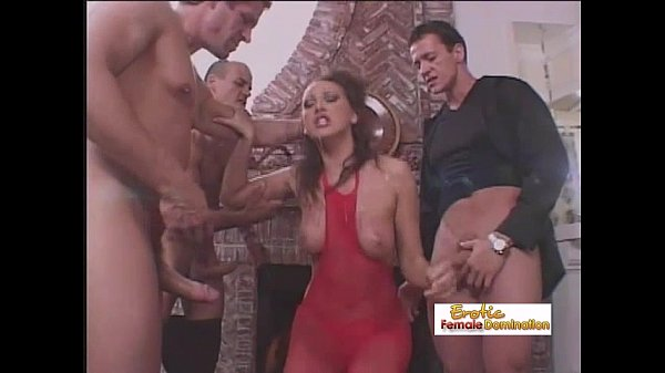 Gorgeous brunette gets fucked by three cocks at the same time Thumb