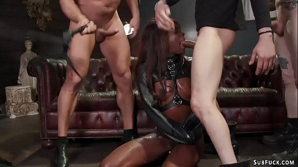 Ebony stuffed with huge white cocks