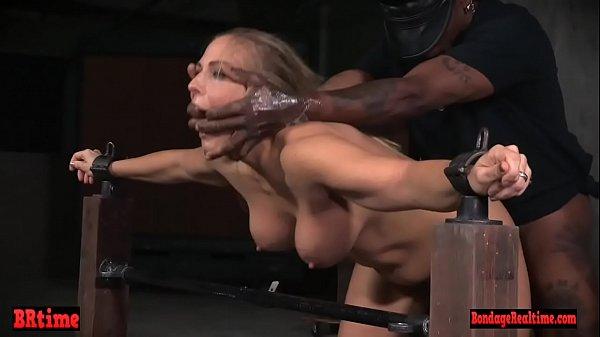 Restrained bondage babe spit roasted Thumb