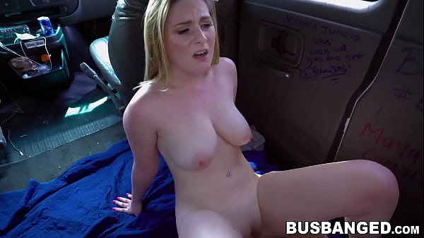 Blonde babe Kara Lee bus banging cowgirl after blowjob Thumb
