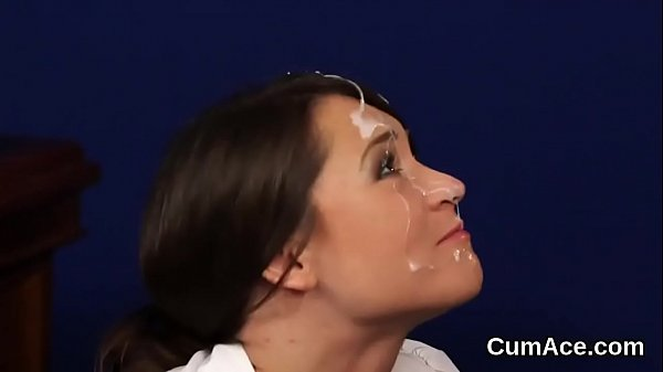Flirty idol gets sperm load on her face sucking all the semen Thumb