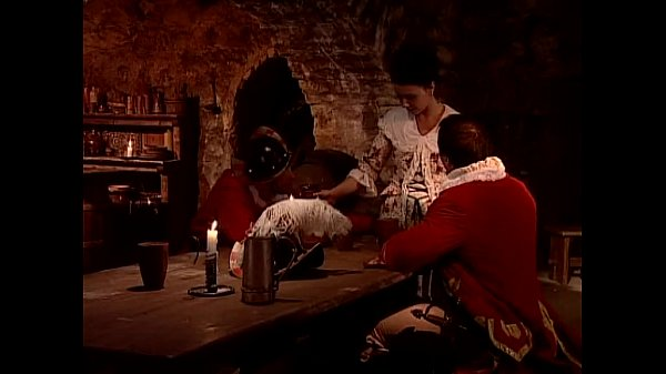 Hot servant fucked in a tavern by two guards of the king