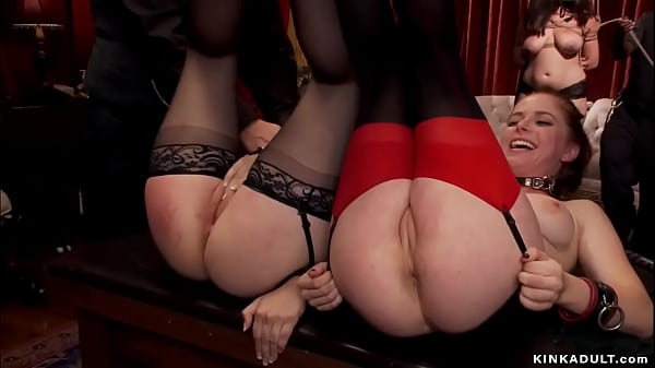 Four slaves vibrating cunts at party