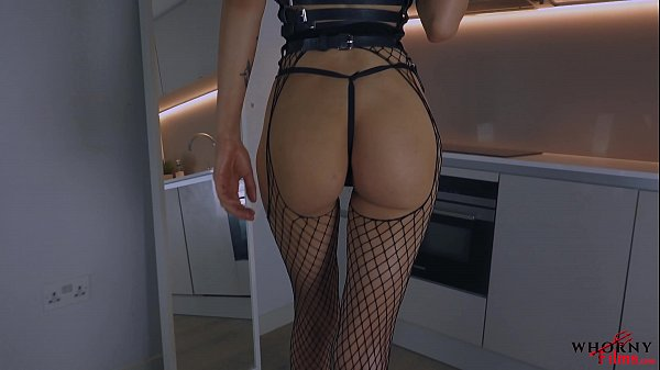 Submissive Hot Babe Teasing in Leather and Fishnets with Perfect Ass Gets Spanked and Face Fucked Hardcore- WhornyFilms