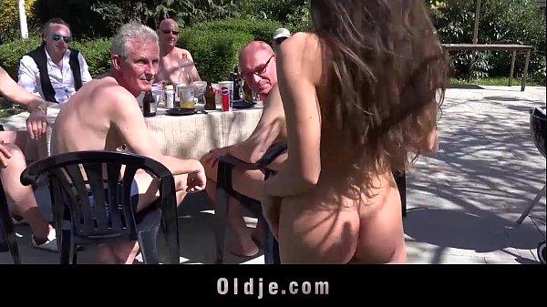 8 lucky old men gang bang Anita's tiny holes Thumb