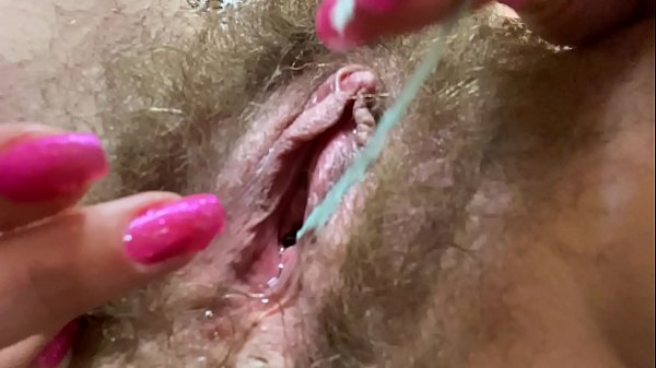 i came twice during my period ! close up hairy pussy big clit torturing dripping wet orgasm