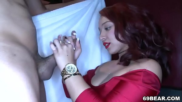 Dancing bear is here and cock hungry girls suck his dick