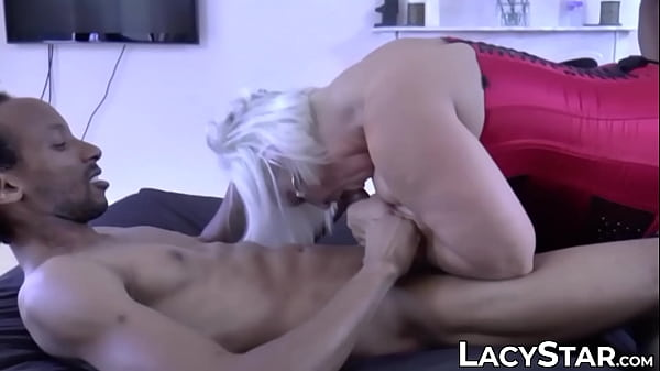 Two black dudes banging GILF titties and tight wet cunt
