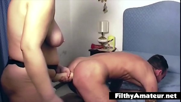 The mistress wife buggers her husband with a st...