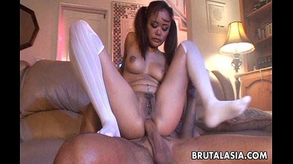 Pig tailed Annie Cruz has an anal fuck to enjoy