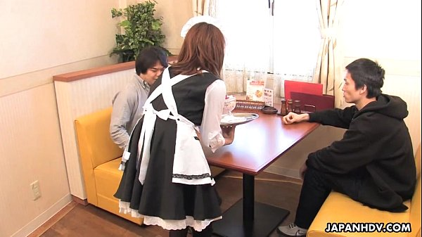 Asian waitress fucking her customers in a hot threesome