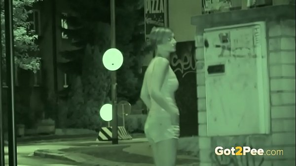 Public Pissing - Night vision catches a hot European peeing outside Thumb
