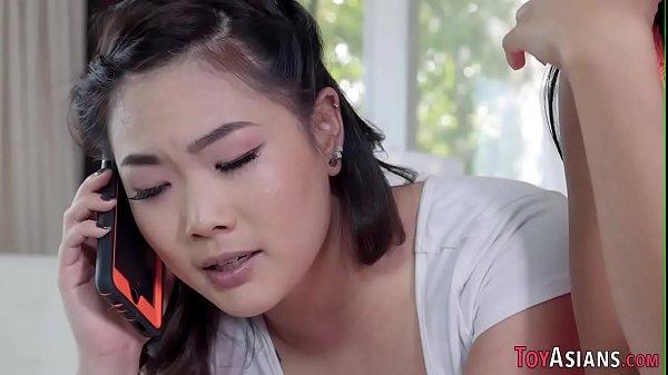 Petite asian slut fucked in threeway