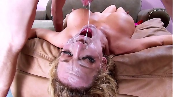 Throat Gagging! Big Tits & Face Fuck Cum Swallowing. On Her Knees and Upside Down Hard Deepthroat Thumb